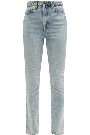 Khaite Daria Santa Fe Faded-wash Slim-leg Jeans - Womens - Light