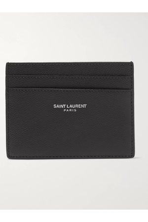 Saint Laurent Men Wallets - Logo-Embossed Pebble-Grain Leather Cardholder
