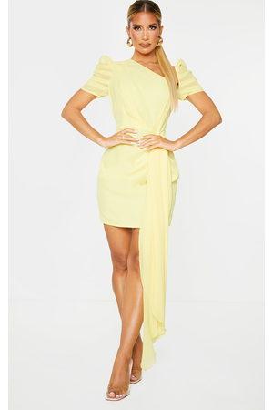 PRETTYLITTLETHING Lemon Chiffon One Shoulder Draped Bodycon Dress