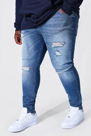 Boohoo Mens Light Plus Super Skinny Multi Rip Jean