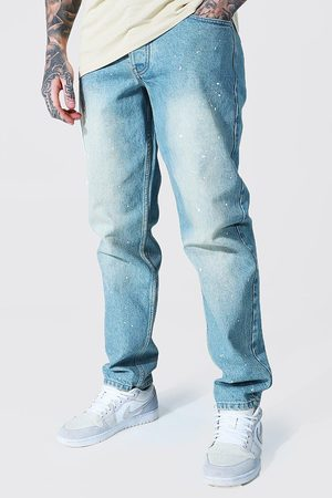 Boohoo Mens Antique Relaxed Fit Rigid Jean With Paint Splatter