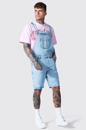 Boohooman Men Bootcut & Flares - Mens Ice Relaxed Fit Short Dungaree