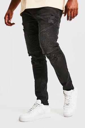 Boohoo Mens Washed Plus Super Skinny Multi Rip Biker Jean