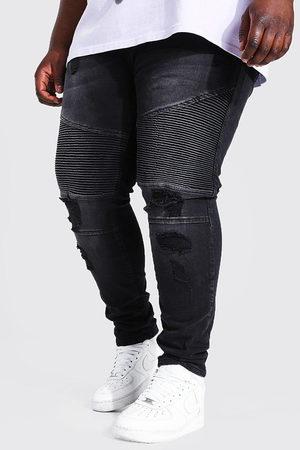 Boohoo Mens Washed Plus Super Skinny Busted Knee Biker Jean