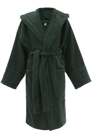 Tekla Organic-cotton Terry Hooded Bathrobe - Womens - Dark