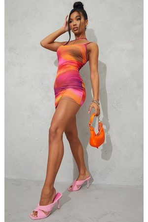 PRETTYLITTLETHING Abstract Print Slinky Asymmetric Strap Detail Bodycon Dress