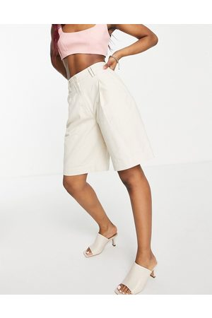 People Tree Longline tailored shorts co-ord-Neutral