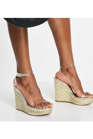 ASOS Wide Fit Tula espadrille wedges with clear strap