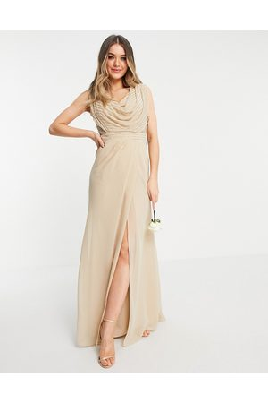 ASOS Bridesmaid linear embellished cowl front maxi dress-Neutral