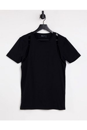ASOS Muscle t-shirt with cut-out sleeve detail in black