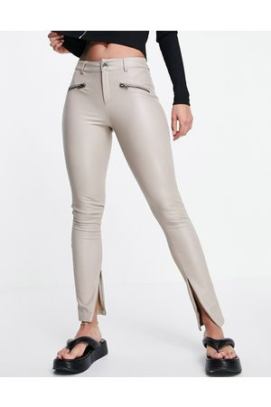 ONLY Faux leather zip pants in stone-Neutral
