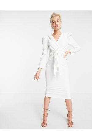 Little Mistress Puffed shoulder tie front detail midi dress in cream-White