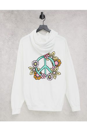 New Love Club Floral peace hoodie in white