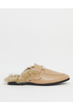 ASOS Backless mule loafers in beige faux leather with faux fur-Neutral