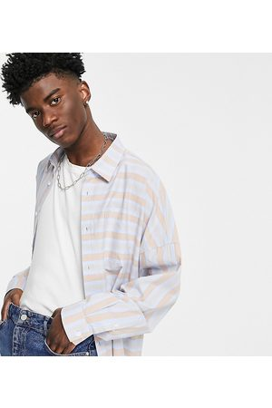 COLLUSION Oversized shirt in spliced stripe-Multi