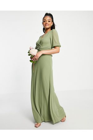 TFNC Bridesmaid wrap front maxi dress in dusky green-Grey