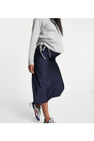 ASOS ASOS DESIGN Maternity satin bias slip midi skirt in navy-Blue