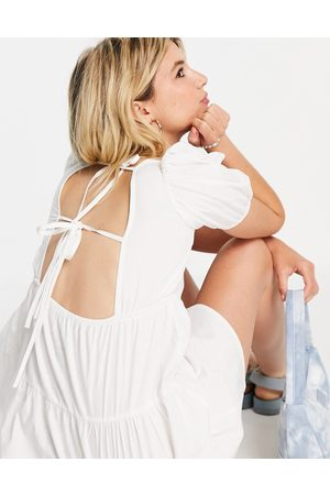 Influence Beach dress with open back in white