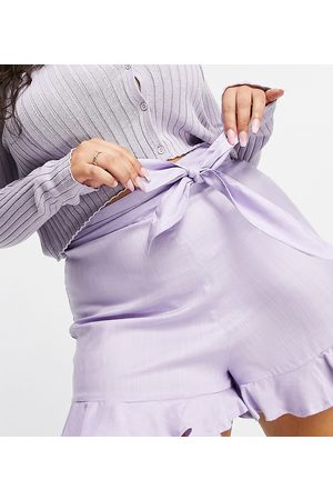 ASOS ASOS DESIGN Curve short with tie waist detail in lilac-Purple