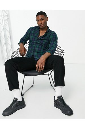 ASOS Stretch slim fit check shirt in green