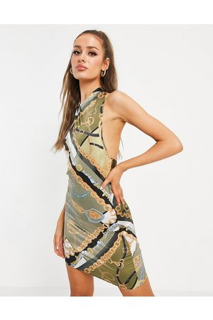 ASOS Halter neck satin mini dress in scarf print-Multi