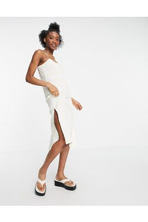 Influence Cami beach dress in white with yellow stripe