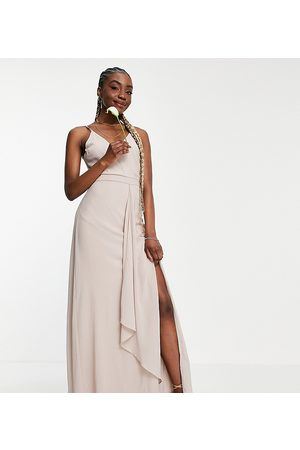 TFNC Women Maxi Dresses - Bridesmaid cami wrap maxi dress with fishtail in pink