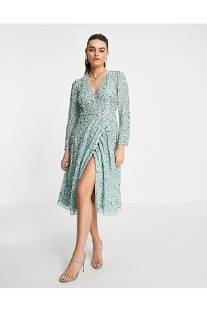 Maya Embellished wrap midi dress in mint-Green