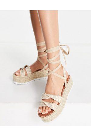 ASOS Tate tie leg flatform sandals in natural-Neutral