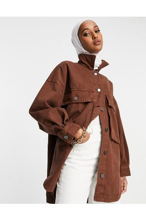 Wåven Oversized shirt jacket in brown