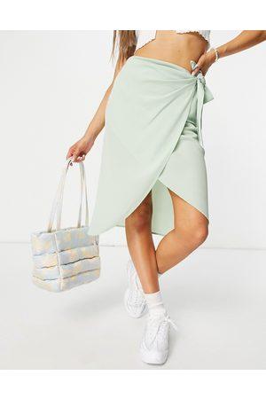 Pieces Marlene high waisted wrap midi skirt in slit green