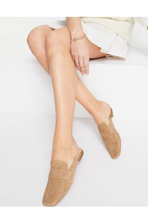 Office Square toe loafer mules in taupe suede-Neutral