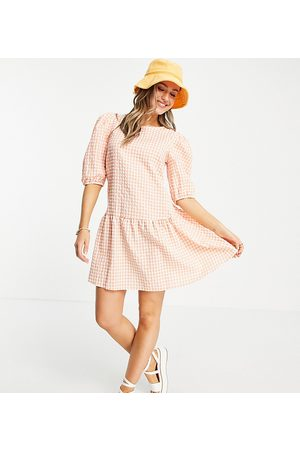 Nobody's Child Smock frill dress in peach check-Pink