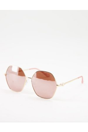 Lipsy Sunglasses - Oversized hexagon sunglasses with gold frame