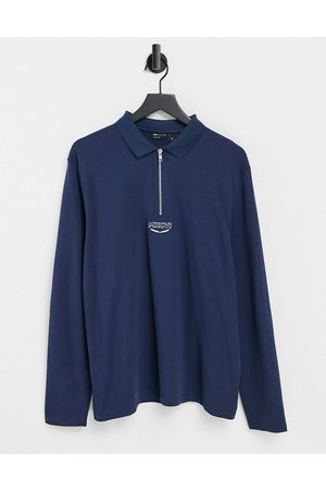 ASOS Organic long sleeve polo shirt in navy with roman numeral embroidery