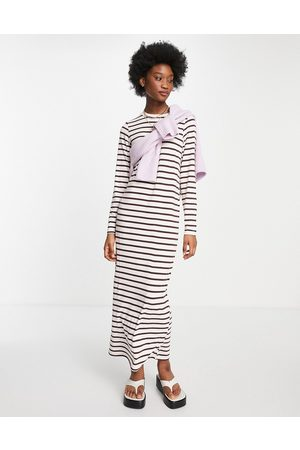 ASOS Long sleeve maxi t-shirt dress in pink and brown stripe