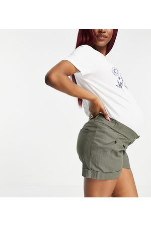 ASOS ASOS DESIGN Maternity pleat front linen wide-legged short in khaki with under the bump band-Green