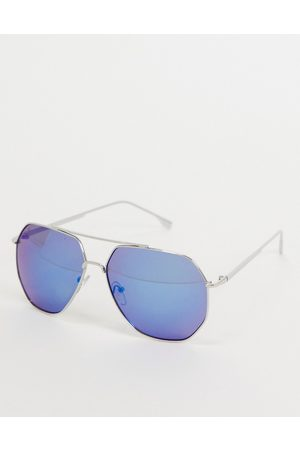 Jeepers Peepers Women's square sunglasses with blue lens in silver