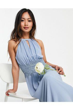 VILA Bridesmaid maxi halterneck dress in blue
