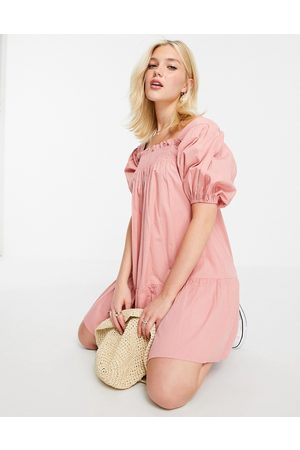 Influence Puff sleeve cotton poplin mini dress in pink-Orange