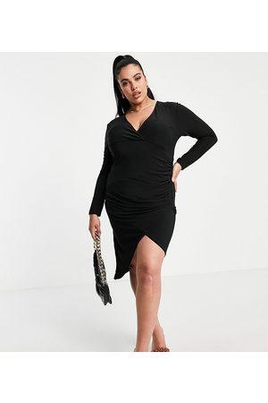 Club L London Plus Ruched wrap front asymmetric midi dress in black