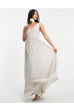 VILA Bridesmaid maxi dress in pale grey