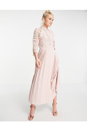 Little Mistress Lace detail midaxi dress in blush-Pink