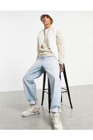 ASOS Diamond quilt vest in ecru-White