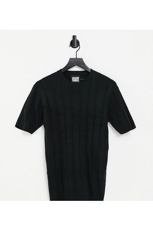 Reclaimed Vintage Inspired Knitted Muscle Fit short-sleeved top in black-White
