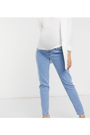 Missguided Over the bump stretch riot jean in blue