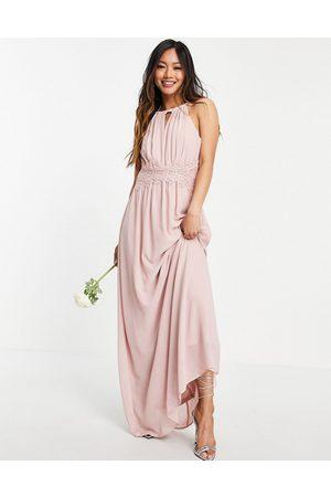 VILA Bridesmaid maxi halterneck dress in pink