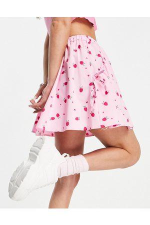 ASOS Flippy mini skirt in pink strawberry print-Multi