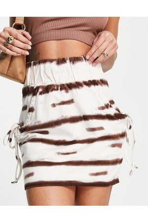 ASOS Jersey mini skirt with ruched pocket detail in brown & white tie-dye print-Multi