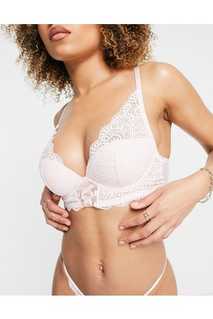 Dorina Blissful Recycled Lace light padded plunge bra in pink